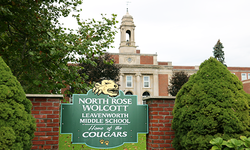 North Rose-Wolcott Leavenworth Middle School Home of the Cougars building sign.