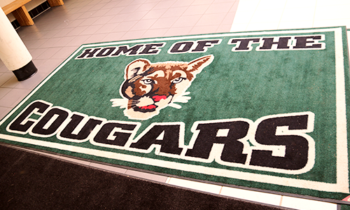 Home of the cougars floor mat